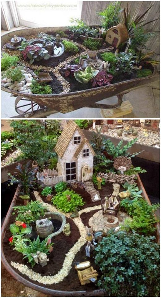 DIY Wheel-barrel Whimsy Fairy Garden Tutorial Inspiration