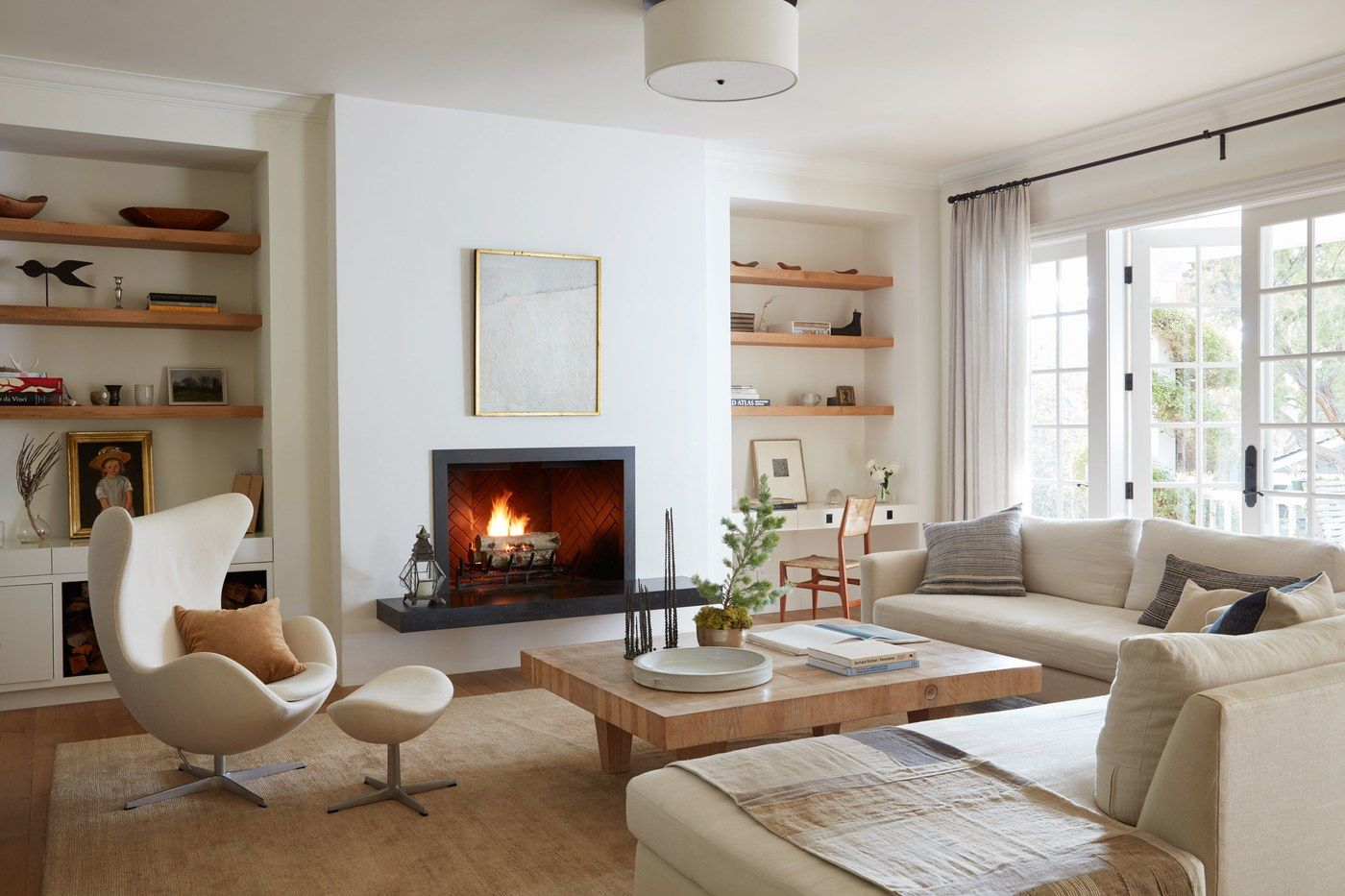 A modern classic living room in creamy white neutrals house tour