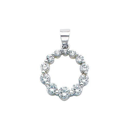 14K White Gold Journey Circle of Life CZ Cubic Zirconia