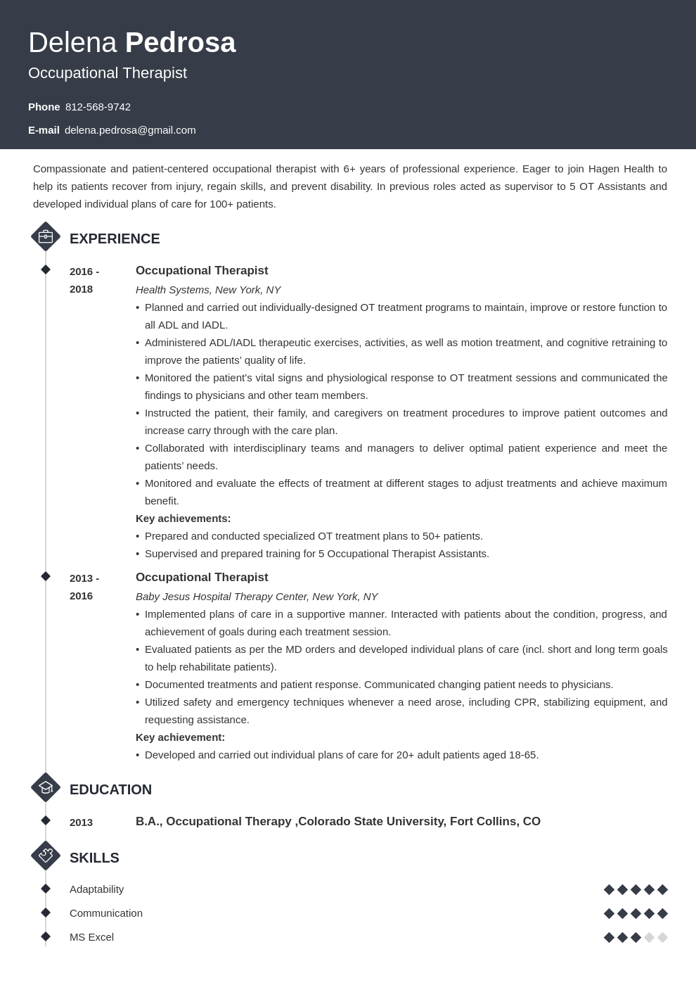 occupational therapy resume example template diamond in