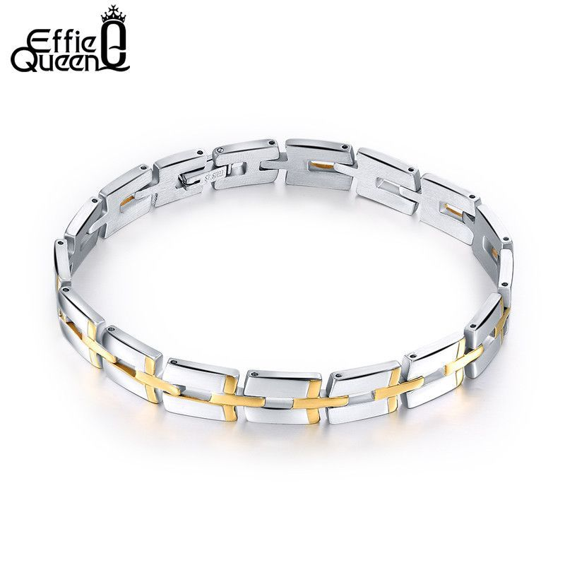 Effie Queen Gold Plated 316L Stainless Steel Bracelet Link Chain for Boys Fashion Men Bracelet Wholesale Jewelry IB09