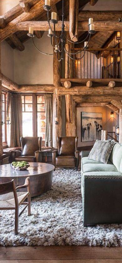 Open Living Room Or Sunroom Or Area On Second Floor Open Balcony Cabin Living Log Homes Home
