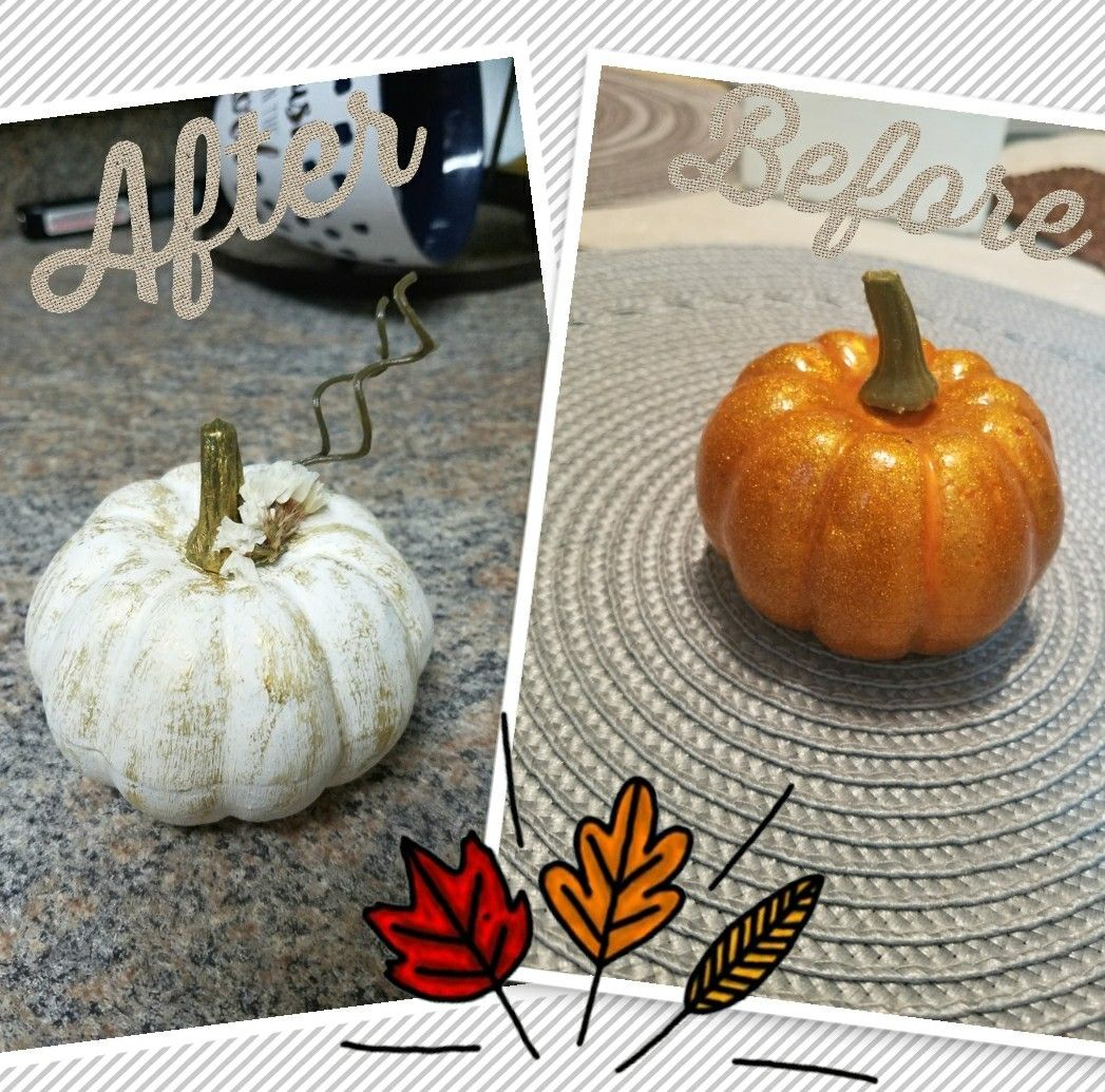 Dollar tree diy pumpkin chalk paint metallic acrylic paint and