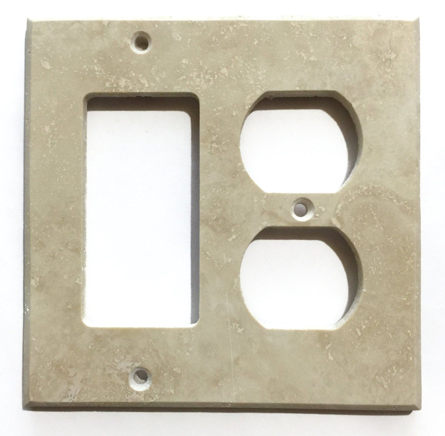 Ivory Travertine Rocker Duplex Switch Wall Plate Cover Honed
