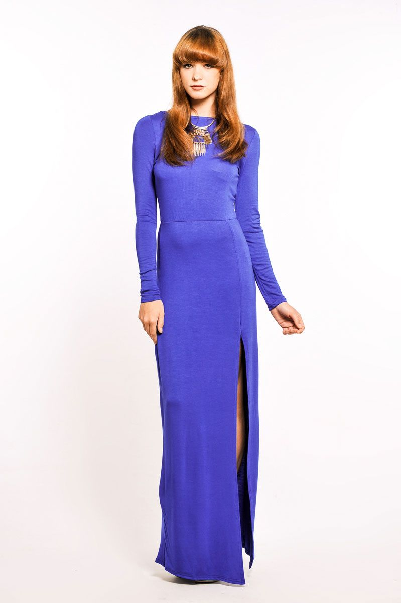 Rexanne Long Sleeve Split Front Maxi Dress in Royal Blue at Pop