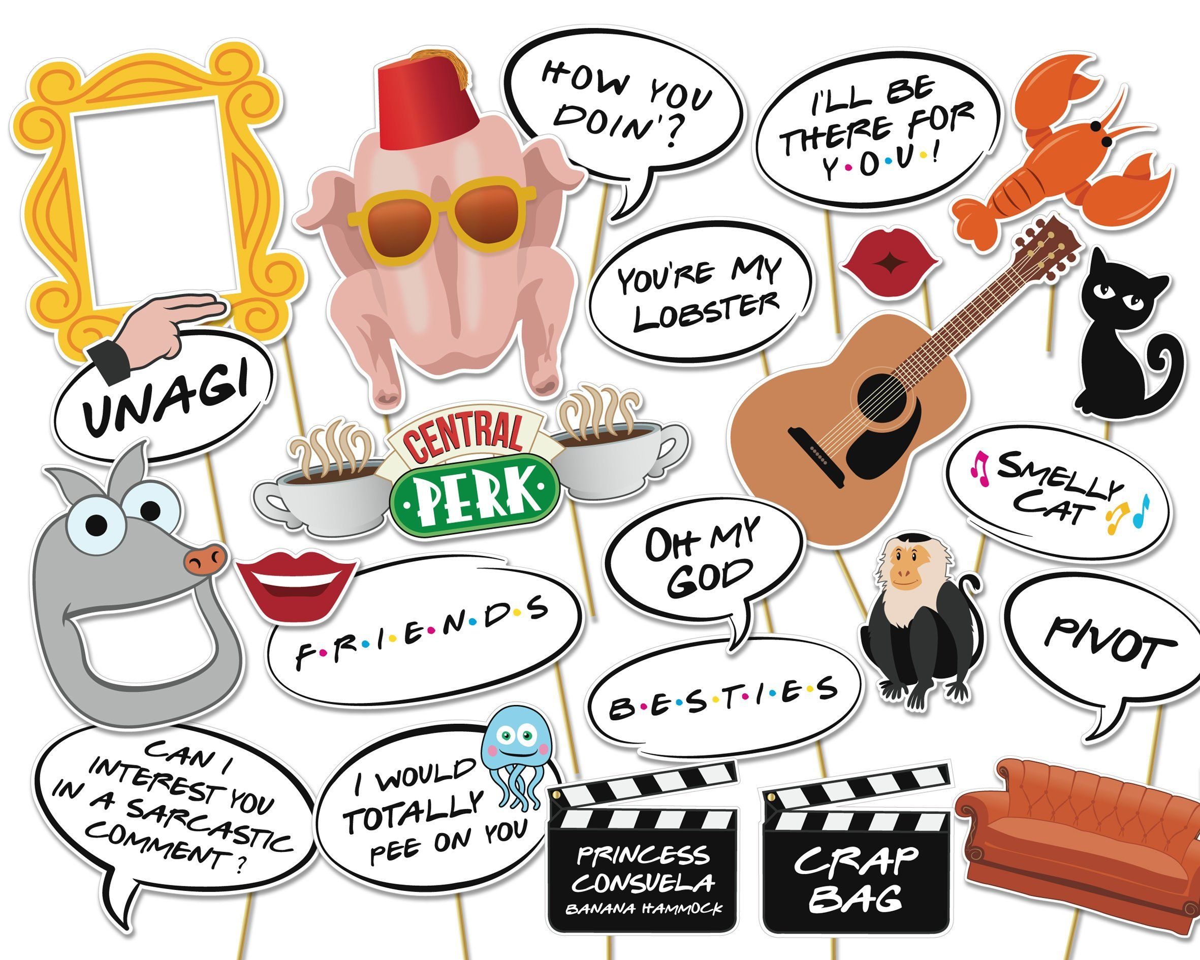 Friends Tv Photo Booth Printable Props Based On Friends -9140