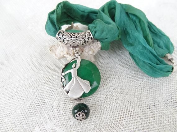 Green Silk and Burgundy Agate Necklace, Whirling Dervish Frame Pendant, Semazen Necklace, Turkish Jewelry, Sufi, Women Anniversary Gift
