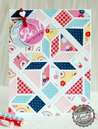 Patterned Quilt Best Wishes Card by Betsy Veldman for Papertrey Ink (July 2014)