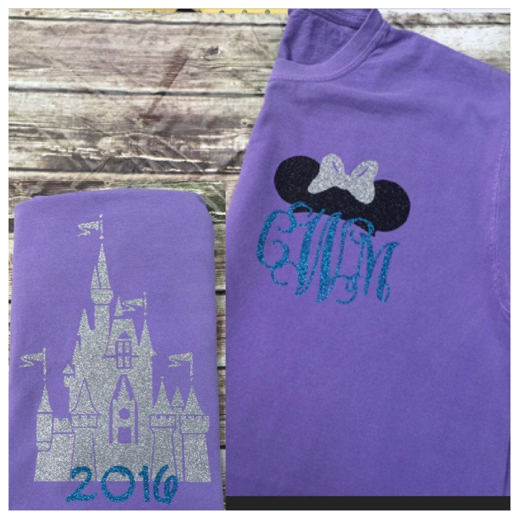 castle disney tank - minnie ears monogram - violet and aqua