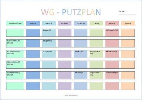 WG Putzplan Vorlage   Dies und das   Pinterest