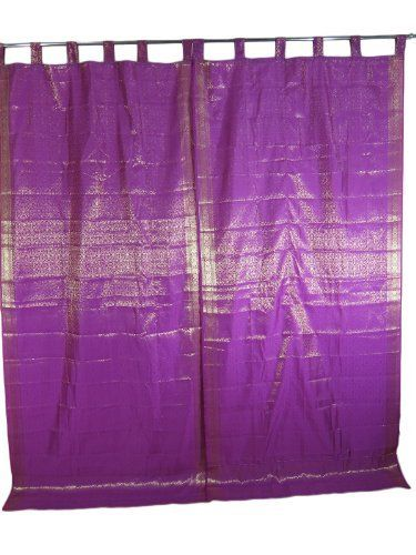 Indian Curtains 2 Brocade Silk Sari Purple Gold Saree Curtain