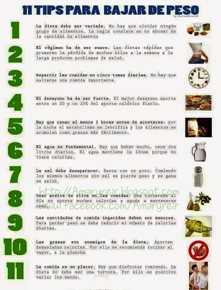 Tips para bajar de peso poco a poco