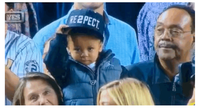 GIF  Derek Jeter s Little Nephew Tipped His  RE2PECT  Hat To Derek Jeter  And It Was The Best Thing Ever 7e5d7359331