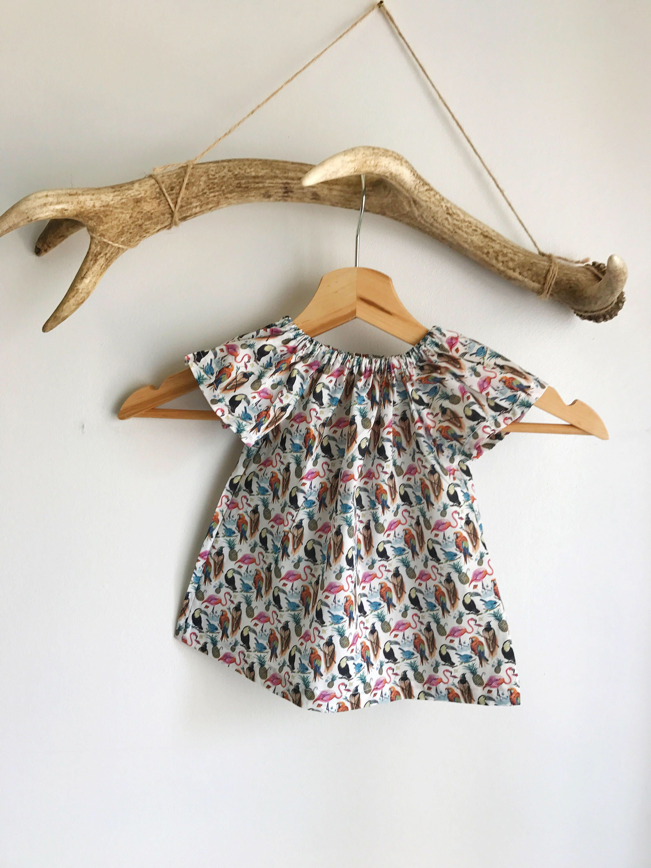 2d966d818e8a9 Baby girls summer dress   Liberty print baby dress   Parrot print baby dress    Peasant
