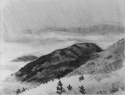 """Philip Koch, """"Above Acadia,"""" vine charcoal, 9 x 12"""", 2010. Drawn on location on Cadillac Mountain in Acadia National Park looking down on the morning fog."""
