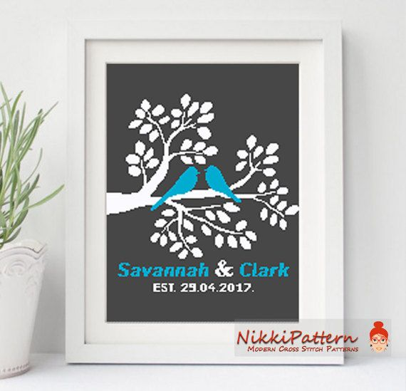Wedding Modern Cross Stitch Pattern Printable Pdf Family Tree ...