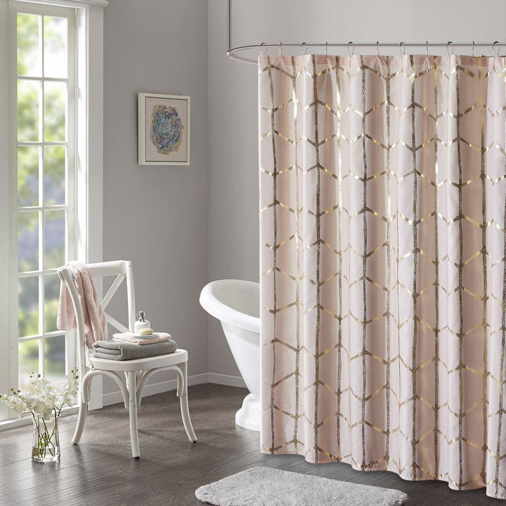 Raina Printed Metallic Shower Curtain Pink Shower Curtains