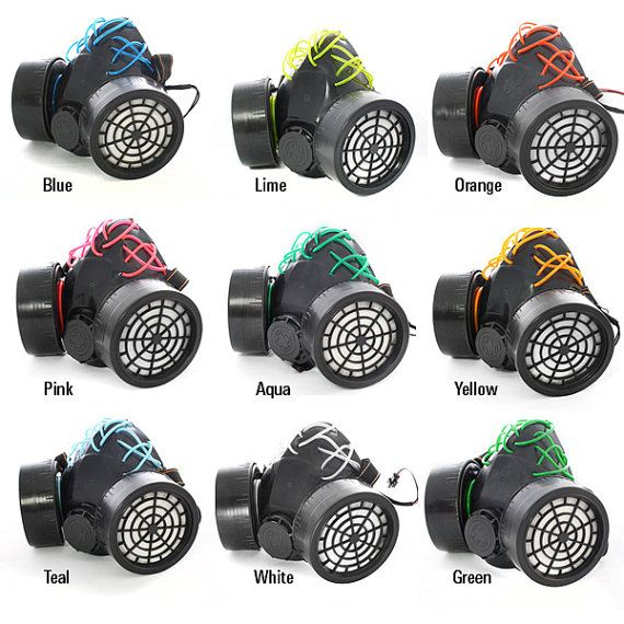 Custom EL-Wire Gas Mask Multiple Colors Cyber Rave Goth Burning Man ...