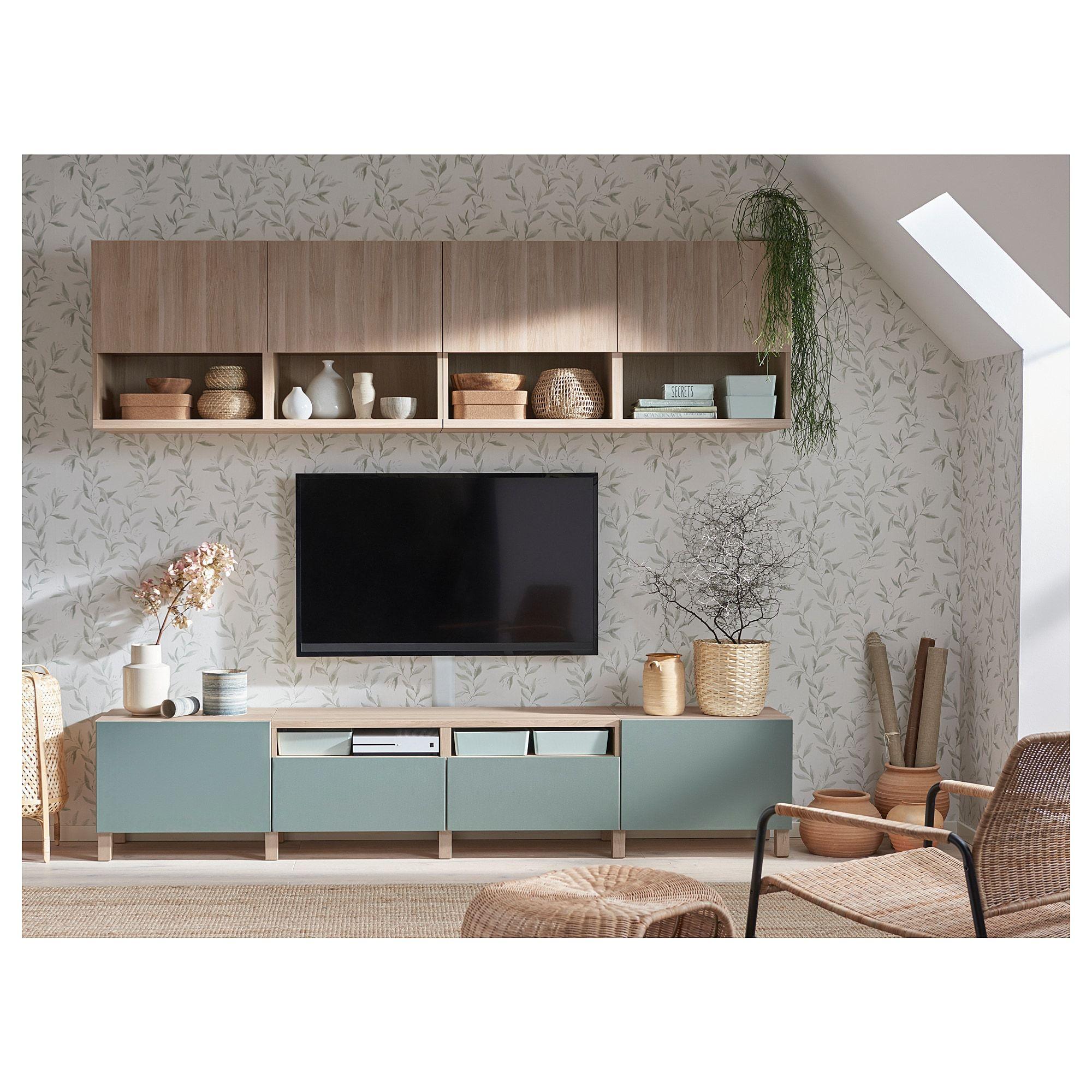 Besta Tv Storage Combination Walnut Effect Light Gray Lappviken