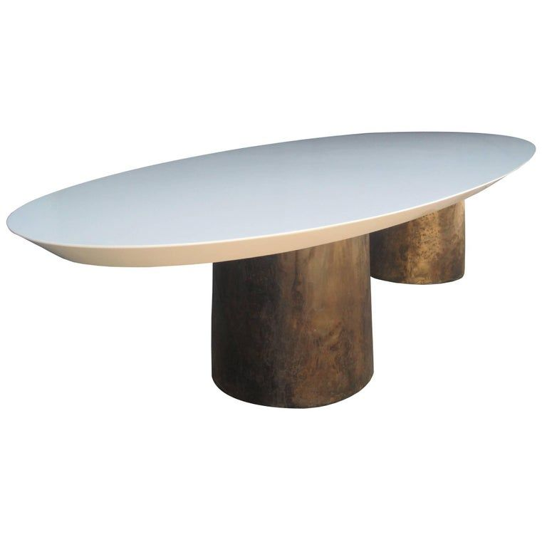 Benone Cast Bronze Twin Pedestal Oval Dining Table From Costantini Dining Table Dining Room Table Modern Dining Room Tables