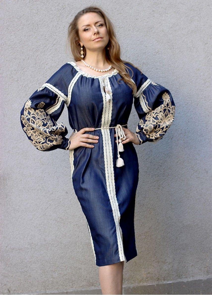 Платье джинсового цвета с вышивкой и кружевом ПЛ-770289  cfe5b26d2747e