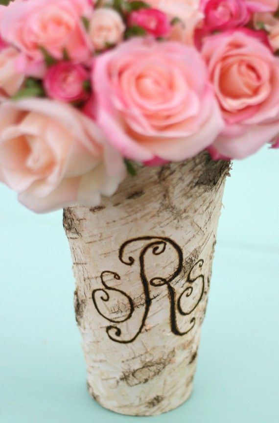 this birch monogram vase is rustic, simple and lovely--great for a gift or party