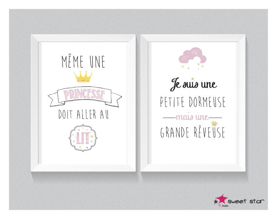 affiche a4 pour chambre d 39 enfant 20x30cm princesse b b. Black Bedroom Furniture Sets. Home Design Ideas