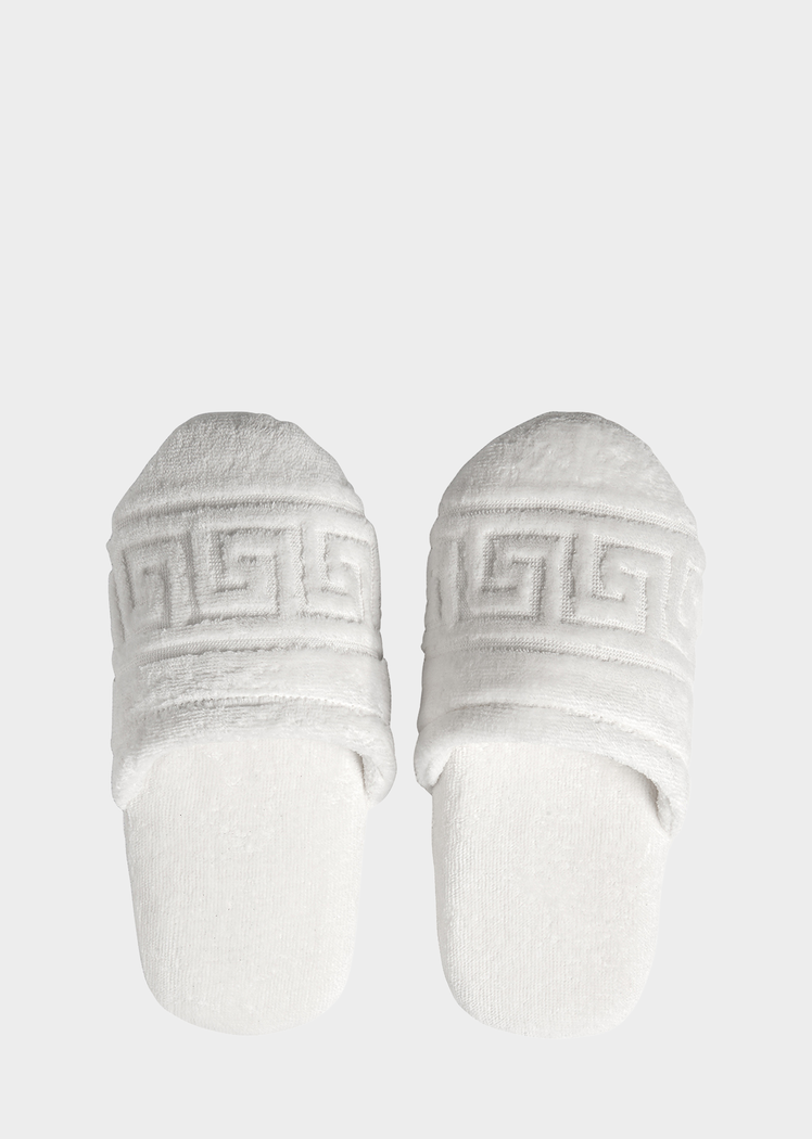 19d04ba1db Versace Greca Key Slippers - Home Collection | Official Website. Greca Key  Slippers. Lounge in luxury with these soft cotton Greca motif slippers.