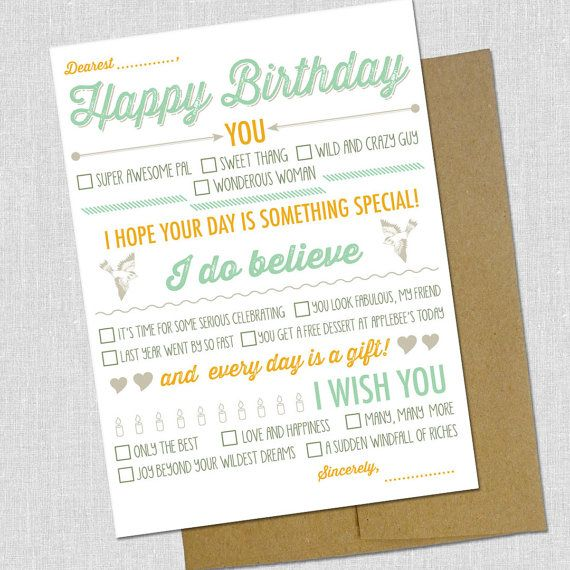 Fill In The Blank Happy Birthday Card