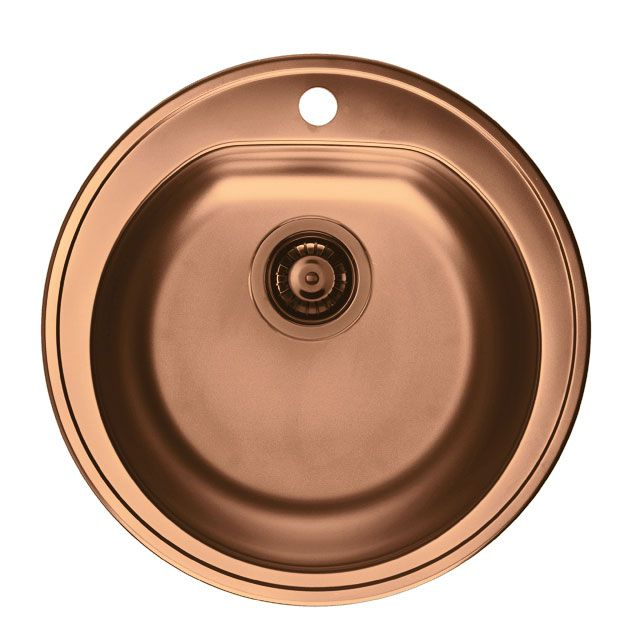 Copper Copper & Copper Sink by Alveus  Inset kitchen sink, single round bowl, made of premium 18/10 stainless steel material, in copper finish.  Delivery within 3 to 7 days (UK mainland)  Free plumbing kit included.  info@olif.co.uk or 01342 834 003.