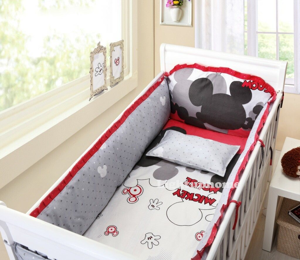 red and black mickey baby bedding | red and white mickey mouse