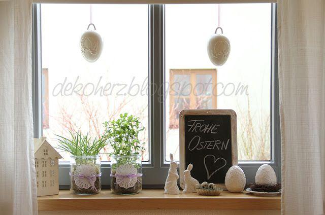 sterliche fensterbank saisonale dekoration ostern fenster und fr hjahr deko. Black Bedroom Furniture Sets. Home Design Ideas