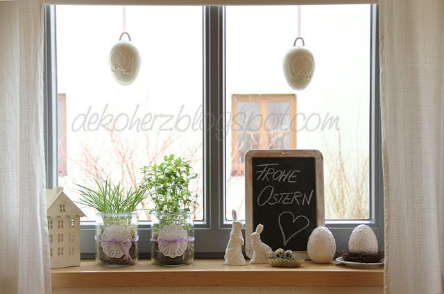 sterliche fensterbank osterdeko fensterb nke k che. Black Bedroom Furniture Sets. Home Design Ideas