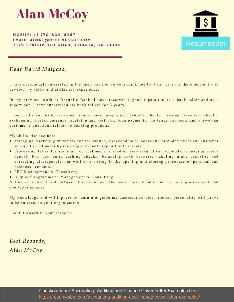 Bank Teller Cover Letter Samples Templates Pdf Word 2019