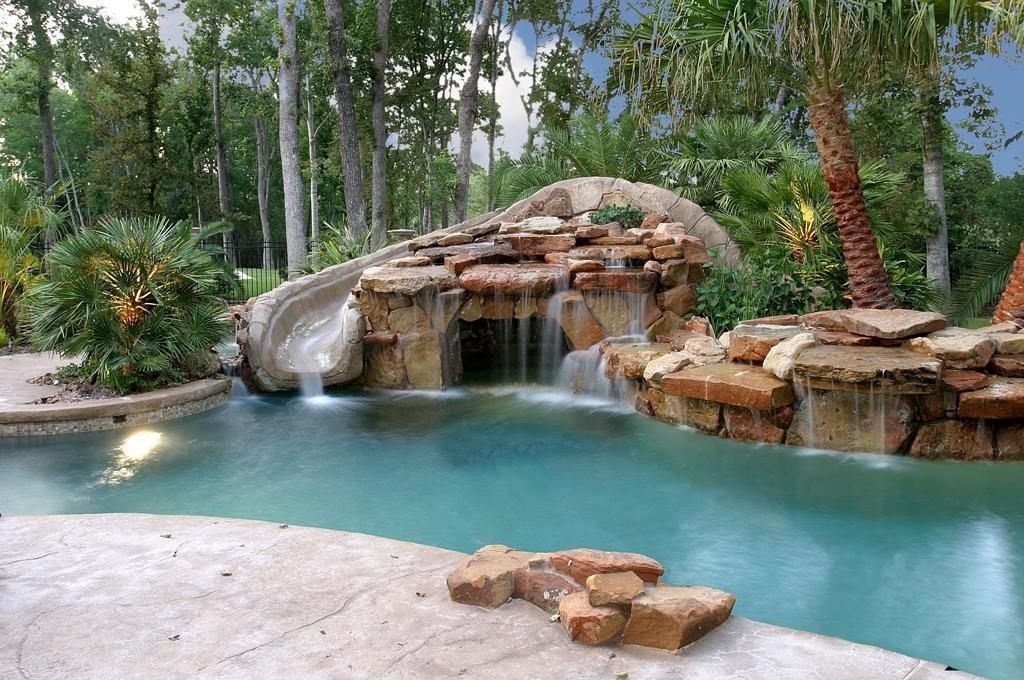 Tropical Swimming Pool with exterior stone floors, Pathway, Other ...