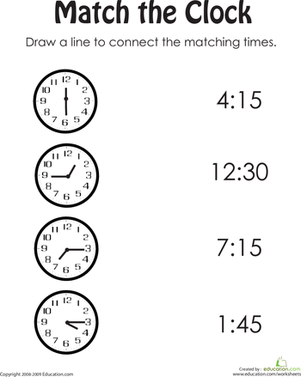 Match the Time to the Clock Worksheet | Homeschooling | Pinterest ...