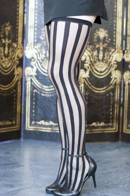Sheer Striped Thigh Highs Opaque Vertical Stripes Black Stockings Tights