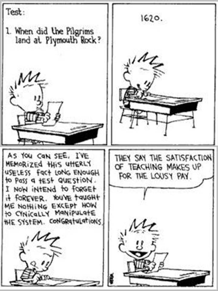 Calvin And Hobbes, SCHOOL - As you can see, I've memorized this utterly useless fact long enough to pass a test question. I now intend to forget it forever. You've taught me nothing except how to cynically manipulate the system. Congratulations.