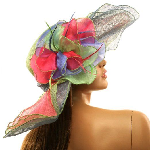 Amazon Com Summer Kentucky Derby Side Flip 7 Brim Layer Floppy Flower Feathers Hat Rainbow Clothing Feather Hat Fancy Hats Kentucky Derby Hats