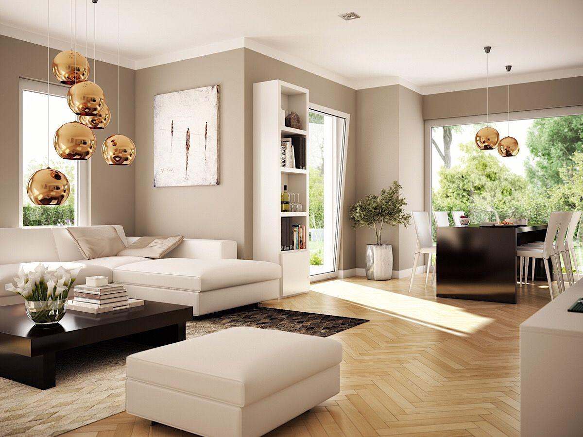 Offenes Wohnzimmer Mit Essbereich Erker Wandgestaltung Farbe