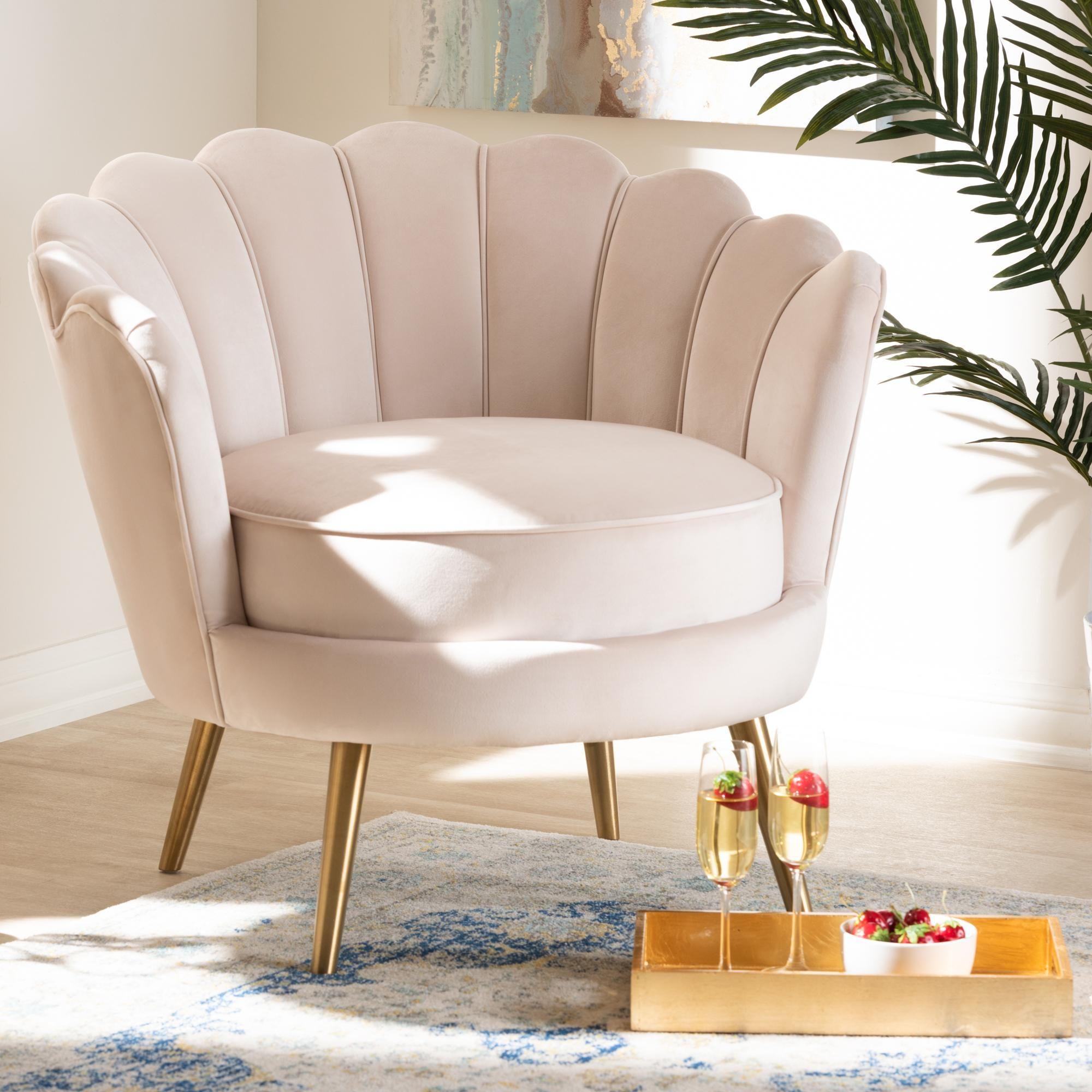 Baxton studio cosette light beige seashell accent chair in