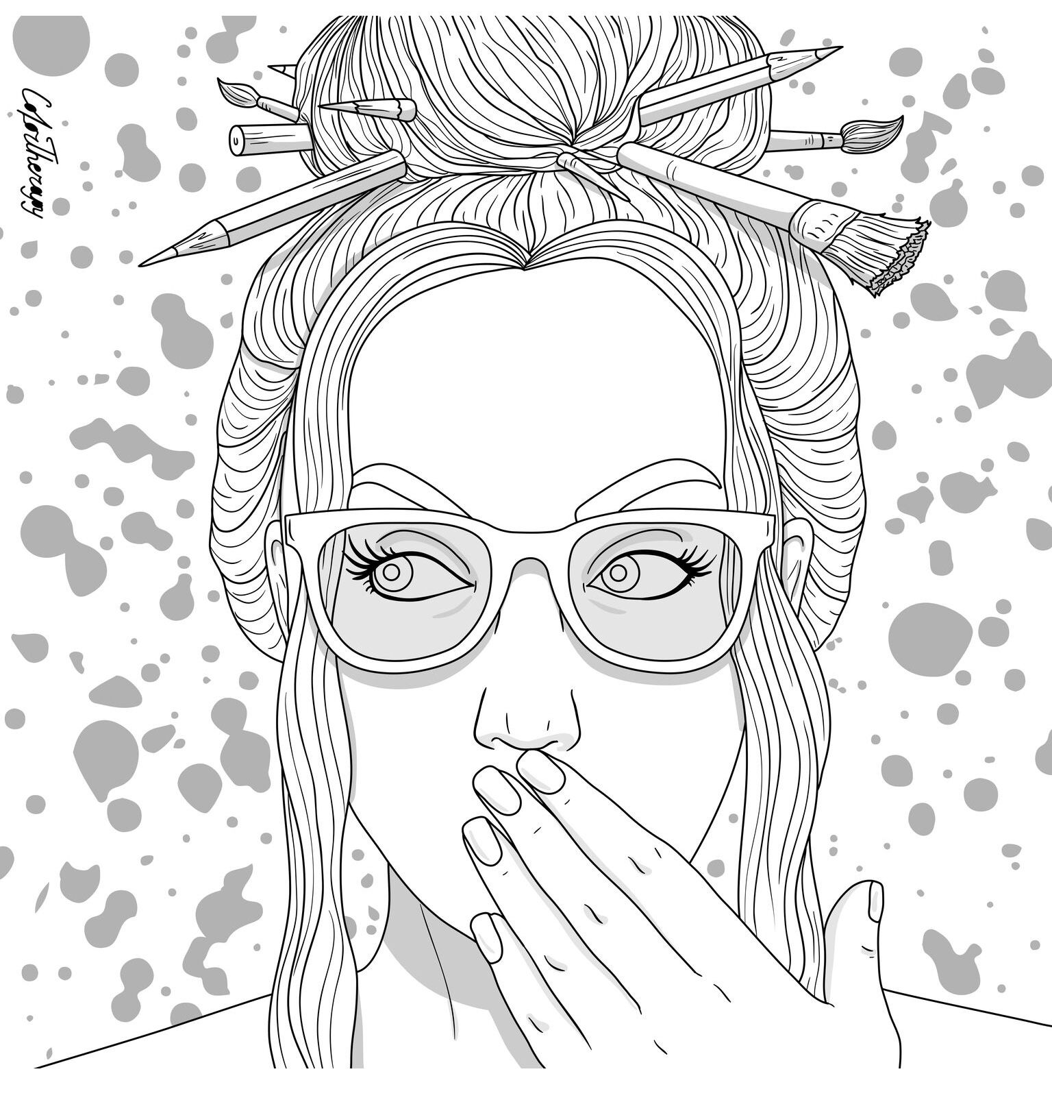 The Sneakpeek For The Next Gift Of The Day Tomorrow Do You Like This One Lady Artist Tool People Coloring Pages Coloring Pages Cartoon Coloring Pages
