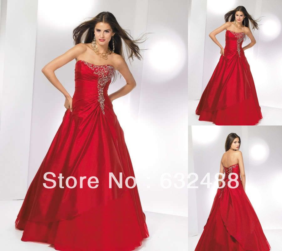 Stock Red Quinceanera Dresses Embroidery  Strapless Taffeta Beaded A-Line Prom Dresses Size 6-8-10-12-14-16 US $89.99