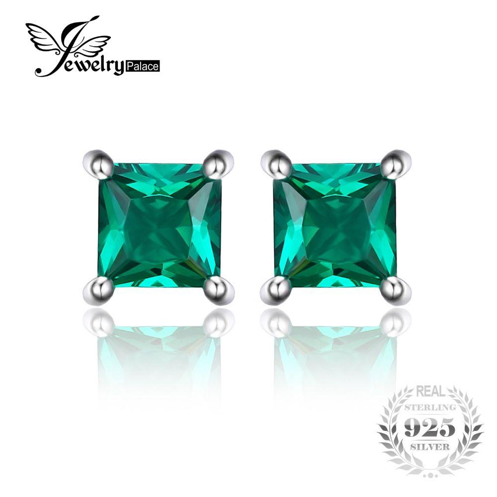 579d696034e7 Jewelrypalace cuadrado 0.6ct creado creado nano ruso esmeralda 925  pendientes de plata esterlina joyería de la manera para las mujeres
