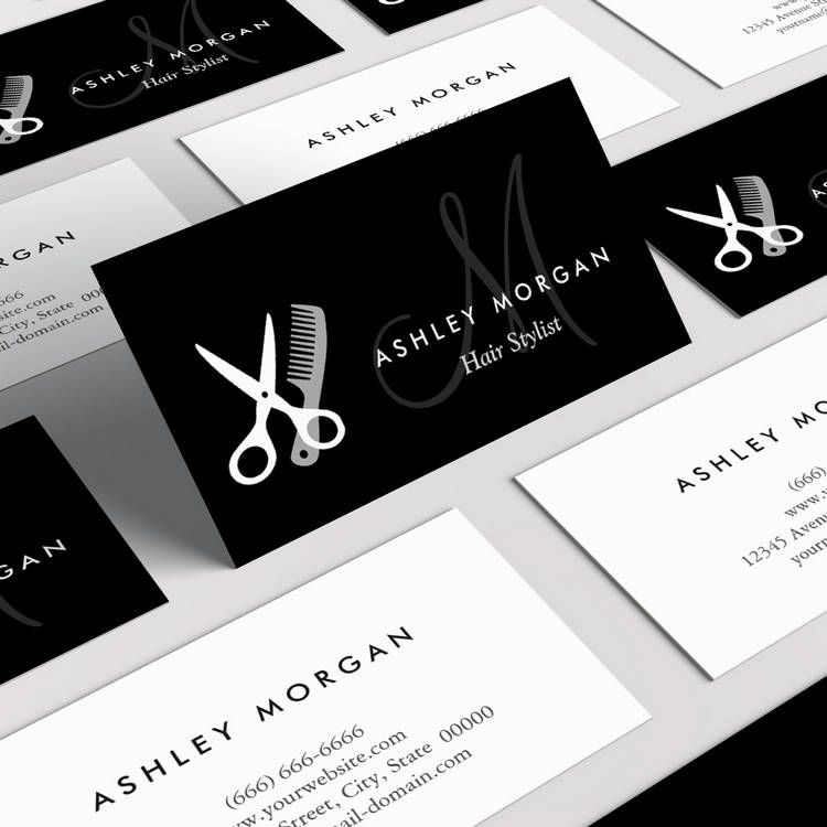 Black white monogrammed hair salon hairstylist business for Hair salon business cards templates free