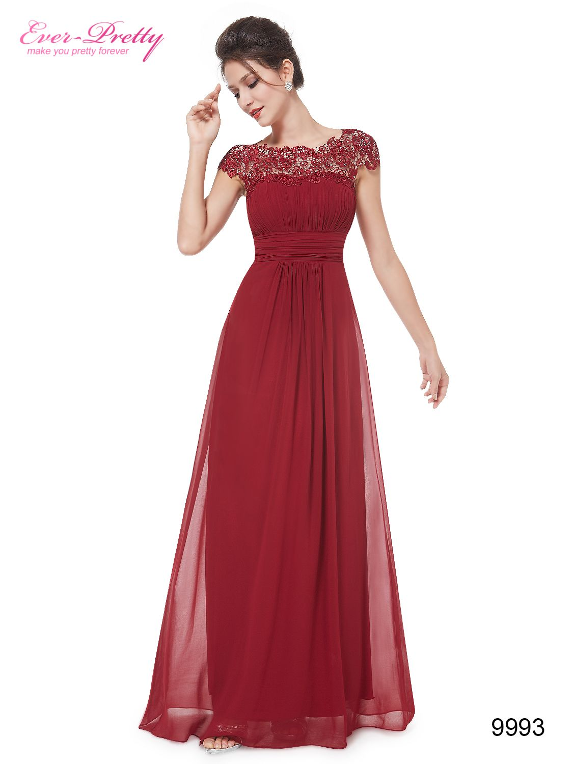 Lace cap sleeve evening gown neckline prom and formal