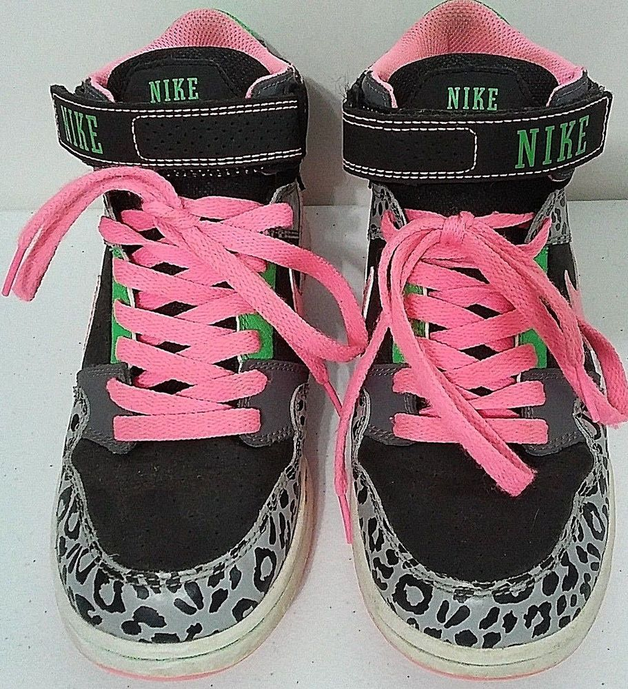 NIKE Girls Leopard Print/Pink/Black/Green/Gray High-Top Sneakers Shoes  Youth 5.5