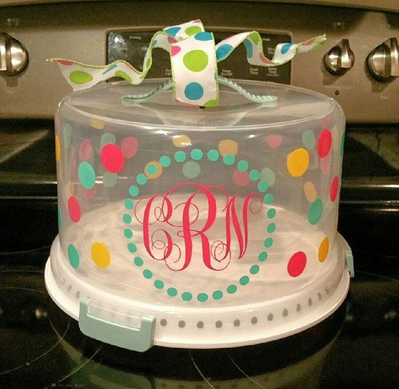 Personalized Monogram Cake Carrier by SecondNatureDesigns1 & Personalized Monogram Cake Carrier | Monogram Cake Server | Monogram ...