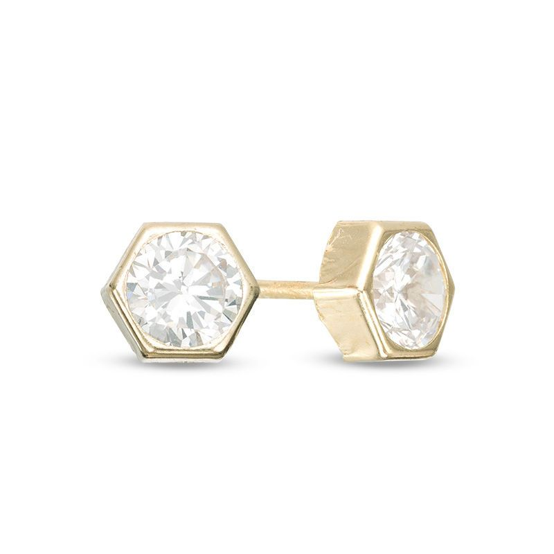 5mm Cubic Zirconia Solitaire Hexagonal Stud Earrings In 10k Gold Stud Earrings 10k Gold Earrings