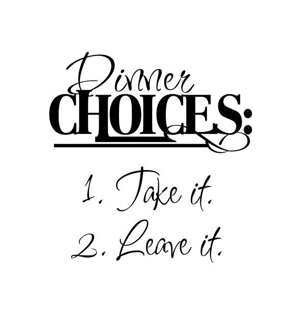 Kitchen Vinyl Wall Decal 'Dinner Choices Take it by InitialYou, $9.95